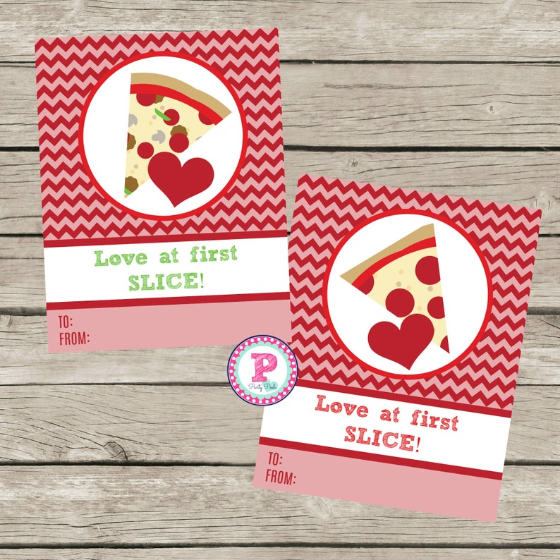 INSTANT Kid Pizza Love At First Slice Valentine Birthday Party Tags Classroom Hand Out Red Chevron Gummies Restaurant Pizzeria