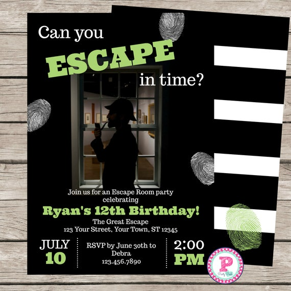 Escape Room Birthday Party Invitation Game Mystery
