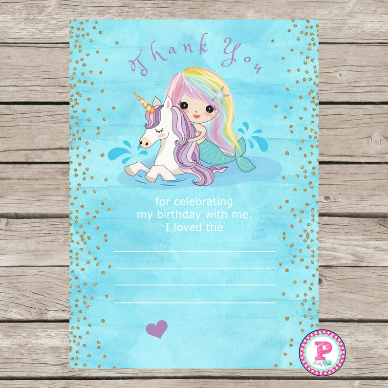 Mermaid Unicorn Birthday Party Thank You Cards Ideas