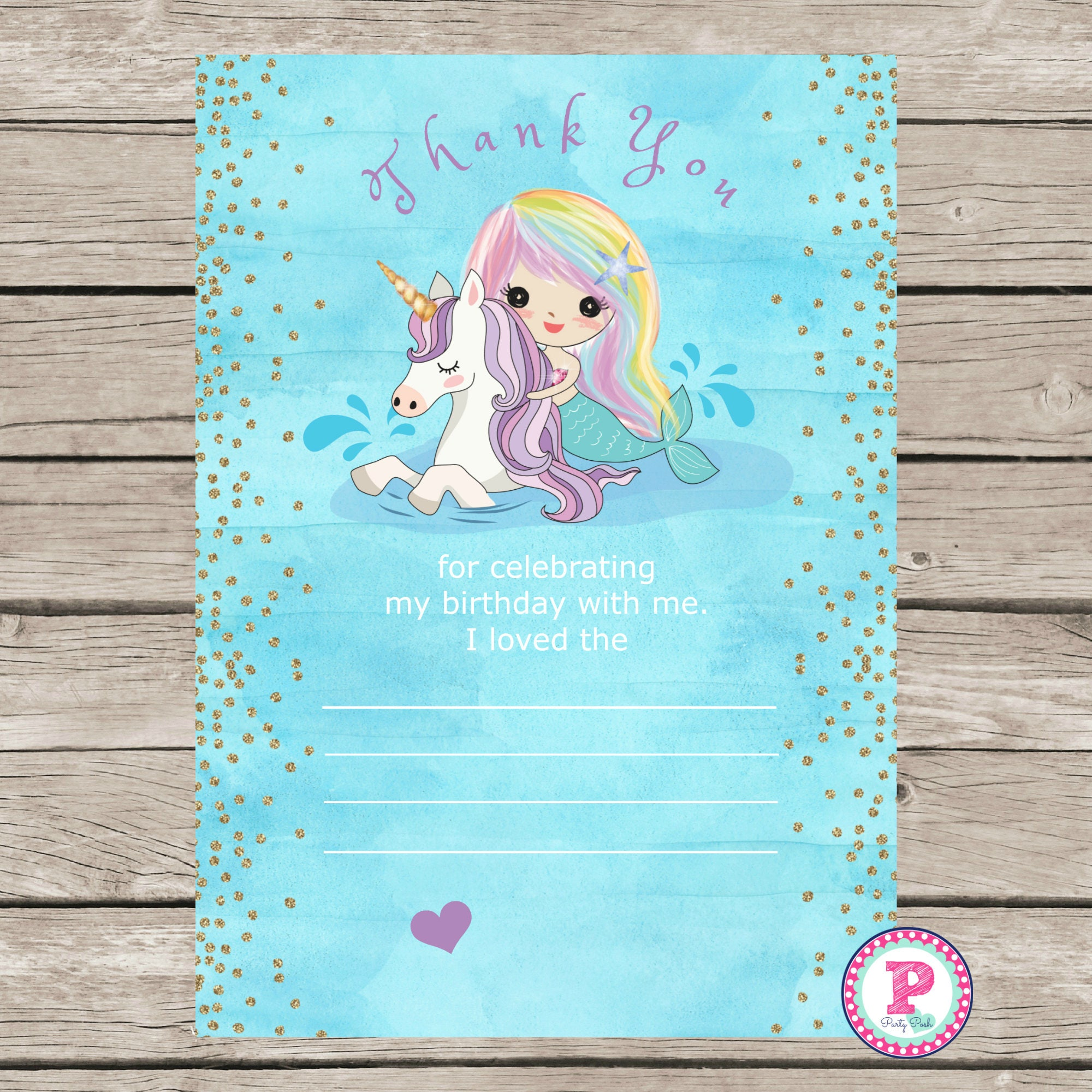 Mermaid Unicorn Birthday Party Thank You Cards Ideas Watercolor Pool Fill In Blank Printable Horse Splish Splash Instant Download 5x7