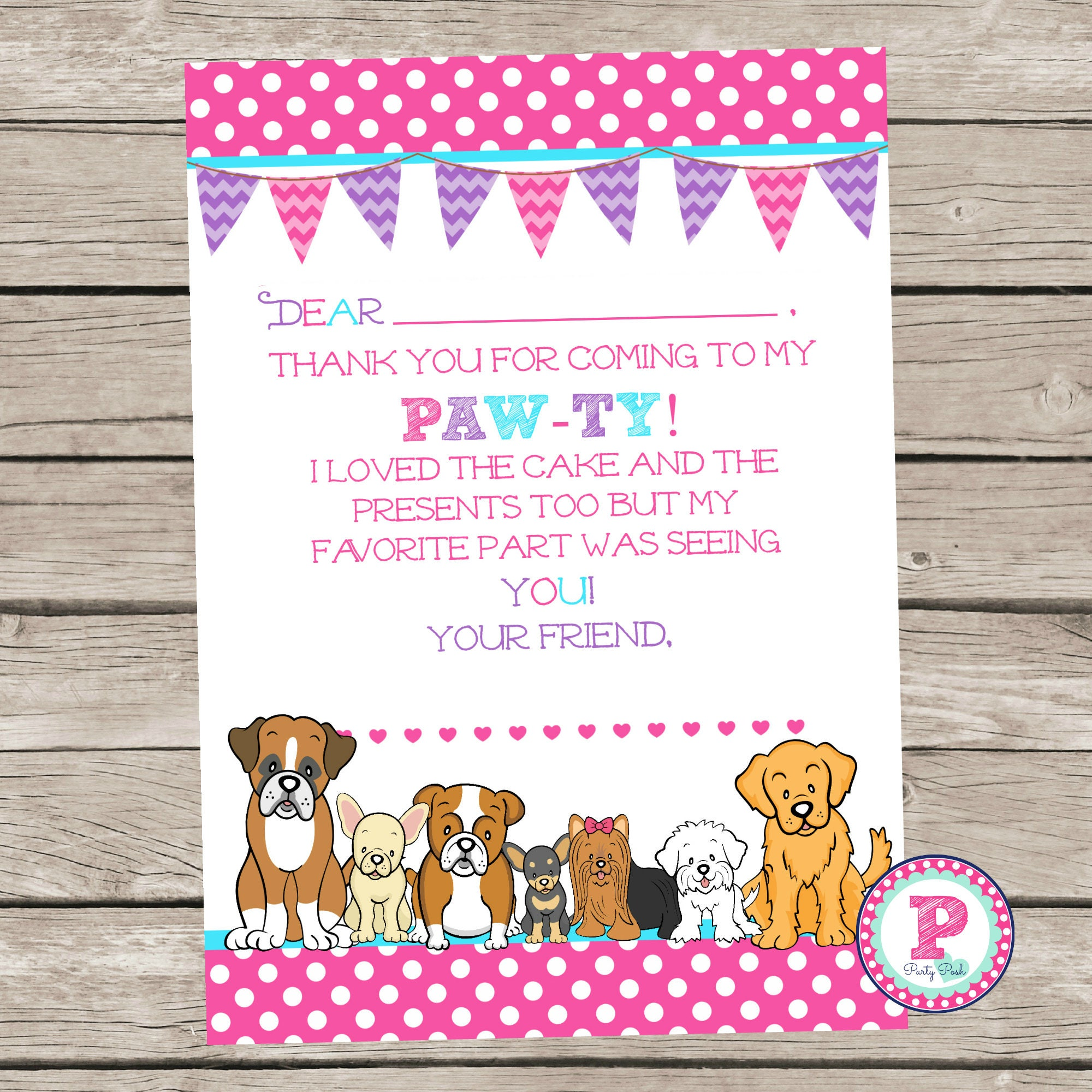 Puppy Birthday Party Paw Ty Thank You Cards Pink Polka Dot Etsy