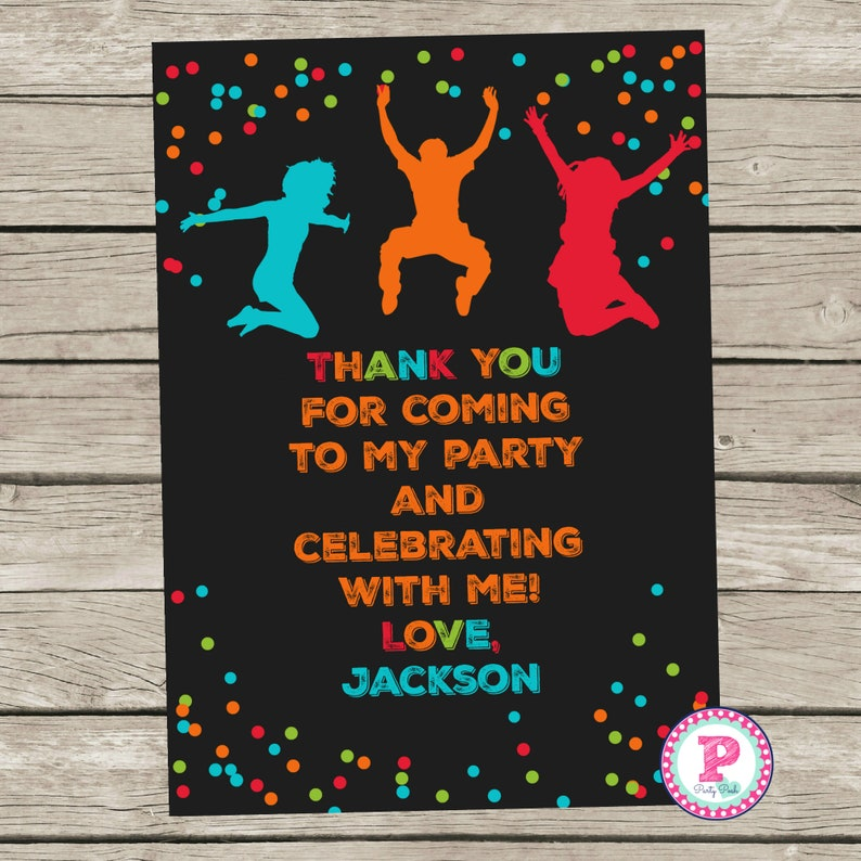 Trampoline Park Birthday Party Thank You Card 5x7 Digital File