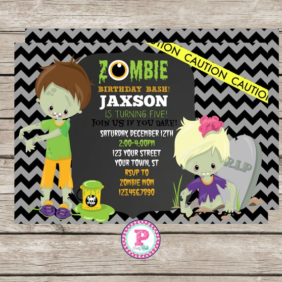 Zombie birthday party invitation zombie invite 5x7 kid zombie etsy stopboris Gallery