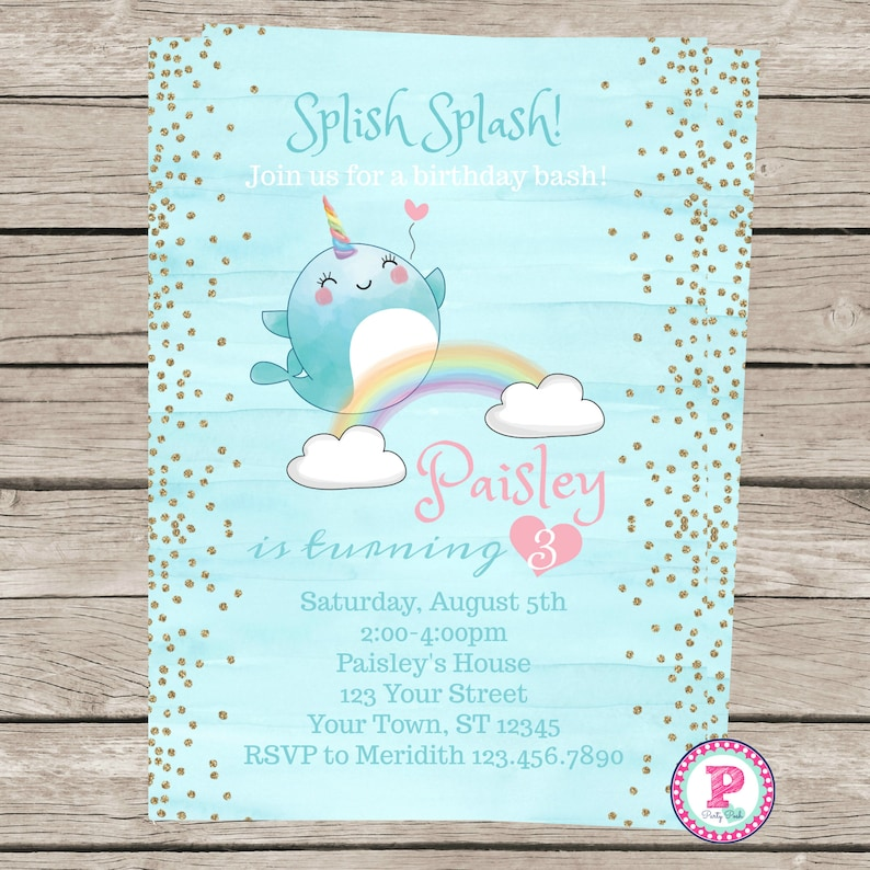Pool Party Pastels Birthday Party Invitations