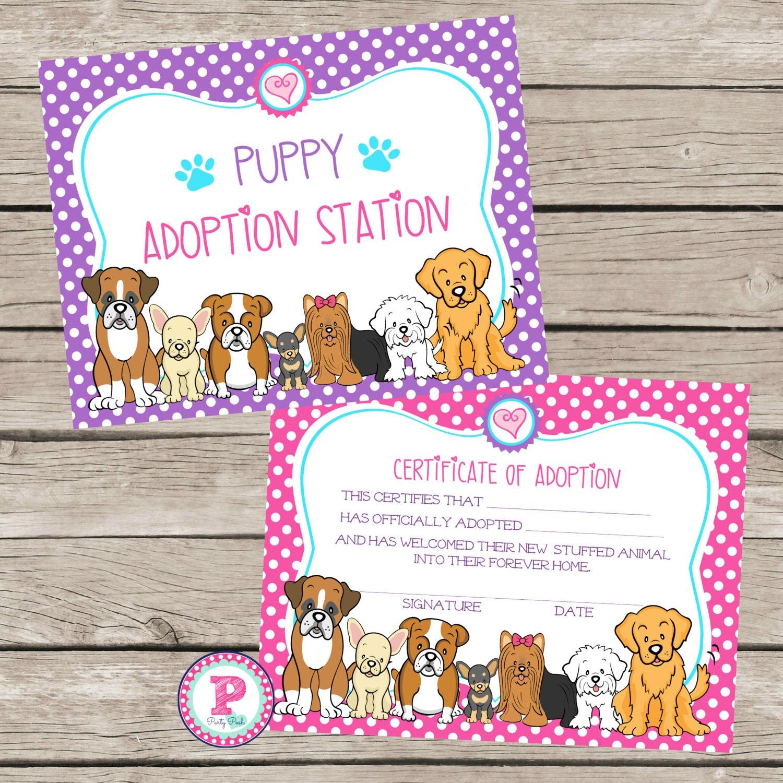 Instant Puppy Adoption Certificate Birthday Party Ideas Polka Etsy