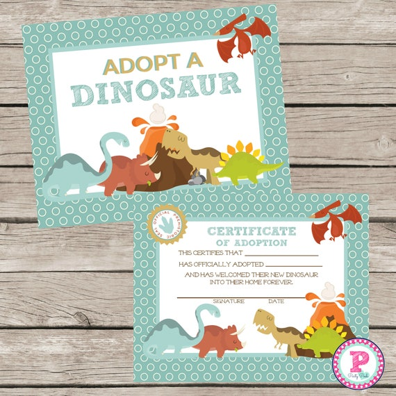 Dinosaur Pet Adoption Certificate Adopt A Pet Dino Birthday Etsy