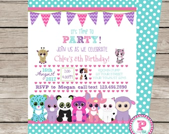 Beanie boo Party Invitation Front Back Birthday Puppy Cat Kitten Digital File Only Pets Stuffed Animals Paw-ty Panda Pony Giraffe