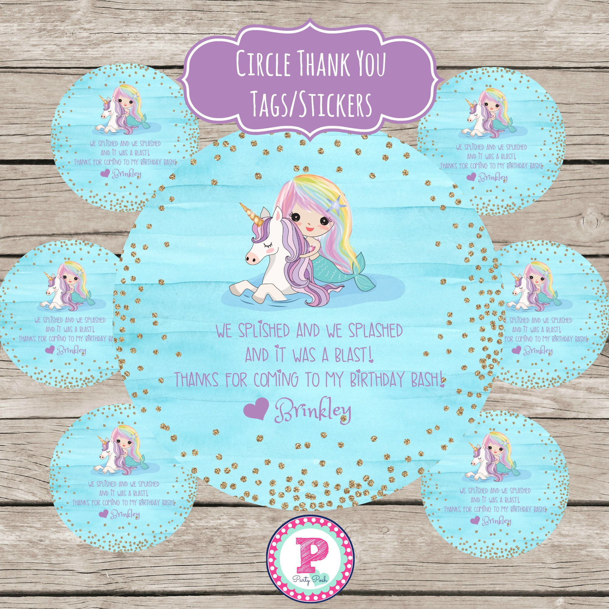 Mermaid Unicorn Birthday Party Thank You Tags Stickers