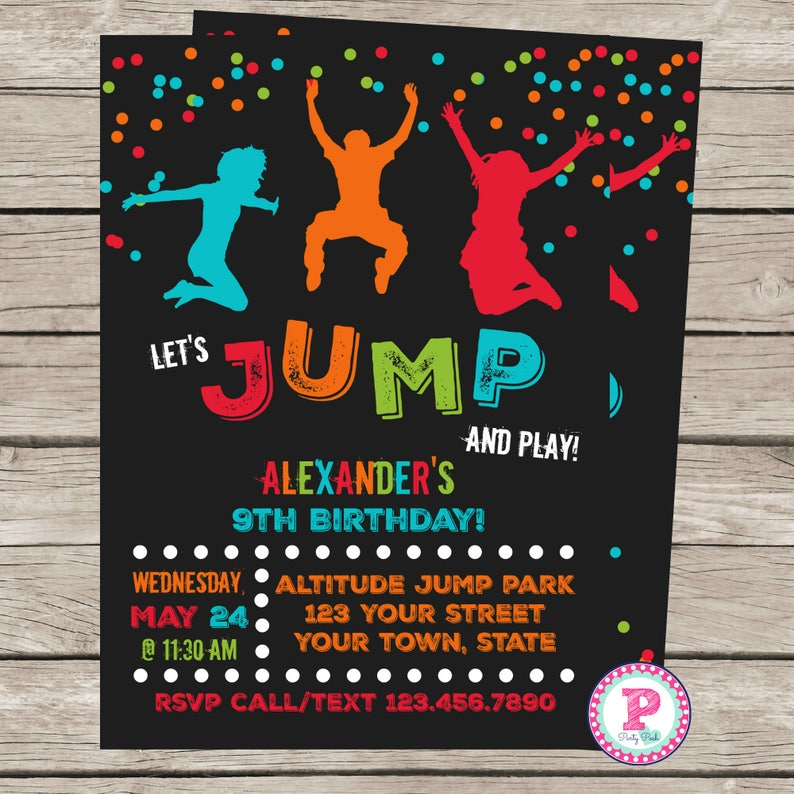 Trampoline Birthday Party Invitation Front Back Jump