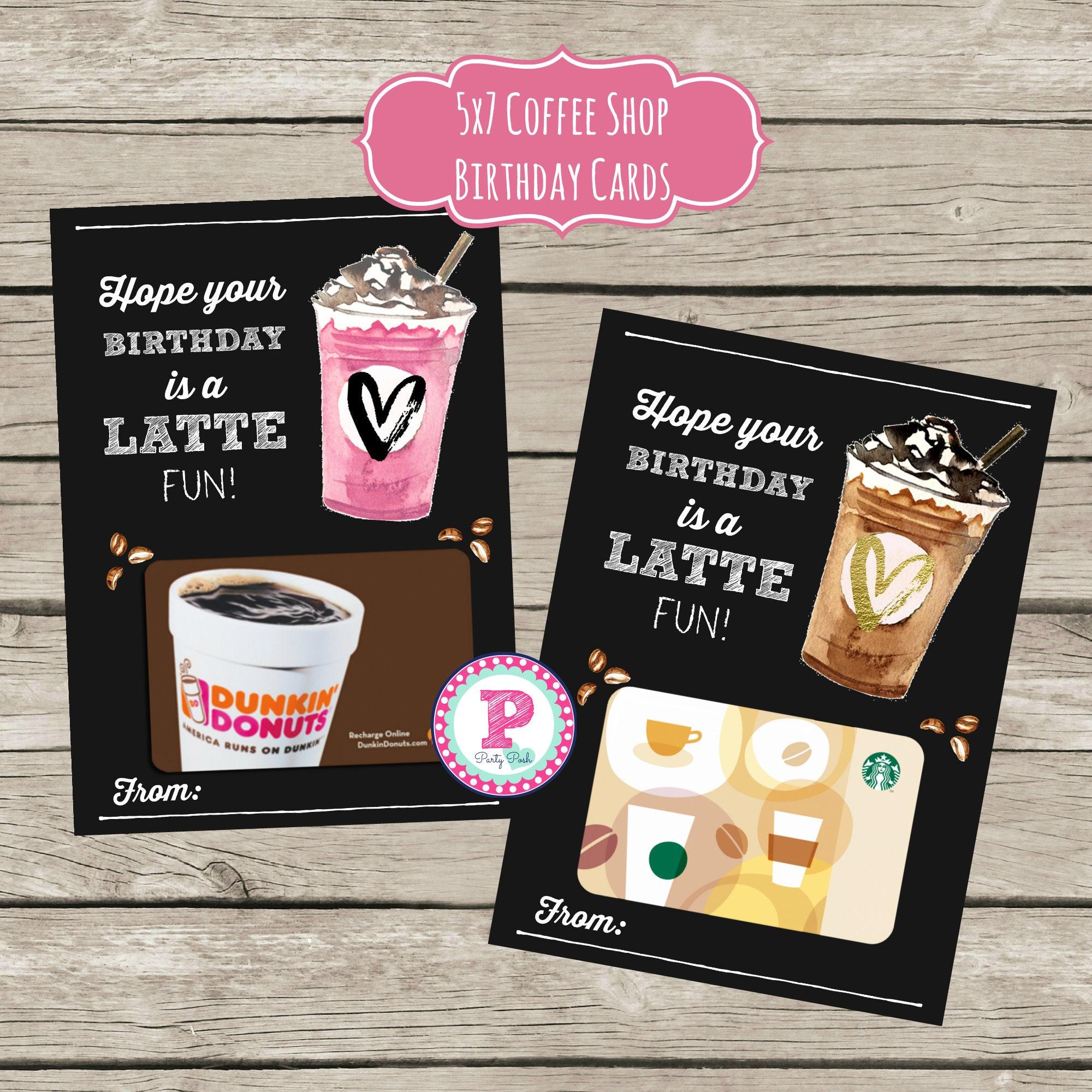 Latte Fun Coffee Gift Card Holder Birthday Card Coffee Shop Etsy