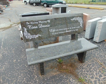 Granite Park Bench golfer memorial butterfly blue includes 75 characters engraved in seat back 1399.00 plus shipping
