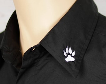 Furry Paw Emblem Shirt.  Black button down, short sleeve