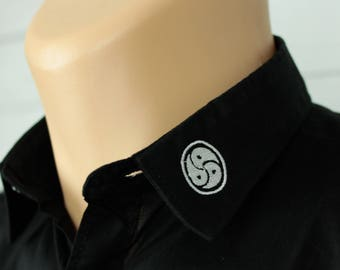 Triskelion BDSM Emblem, Mens Button Down Shirt. Casual Short Sleeve.