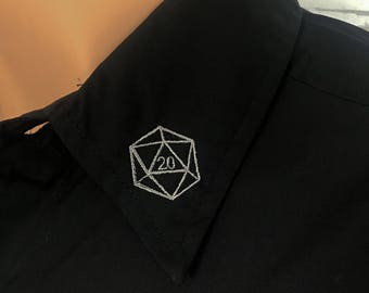 D20 Gamer Shirt, Black Button down.  Casual Short Sleeve