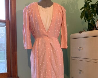 CELARANCE! Vintage 90s Geometric Print Pink Secretary Dress XS 3/4