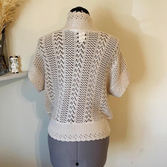 Vintage 90s Beige Crochet Boho Sweater Vest Size L - image 5