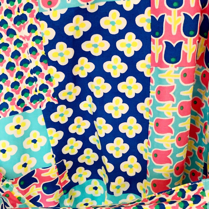 Vintage Talbots Patchwork Flower Power Shirtdress Size 2