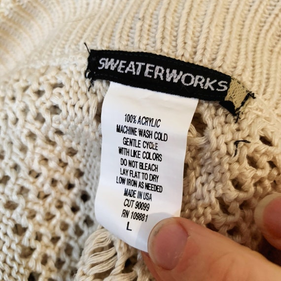 Vintage 90s Beige Crochet Boho Sweater Vest Size L - image 10