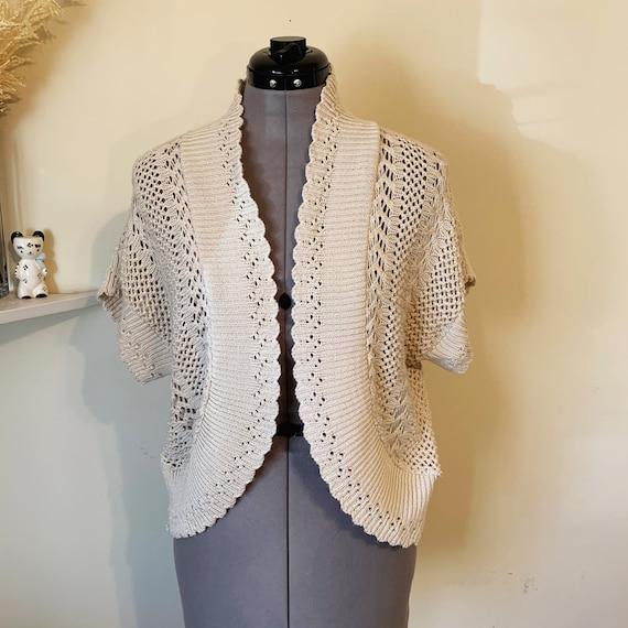 Vintage 90s Beige Crochet Boho Sweater Vest Size L - image 1