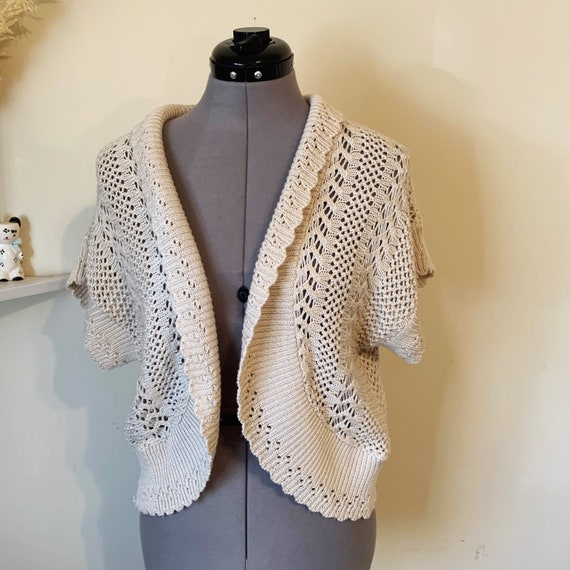 Vintage 90s Beige Crochet Boho Sweater Vest Size L - image 3