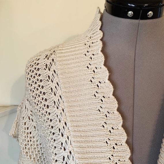 Vintage 90s Beige Crochet Boho Sweater Vest Size L - image 7