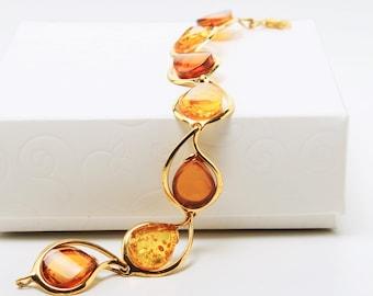 Amber Bracelet Multicolor, Gold Silver