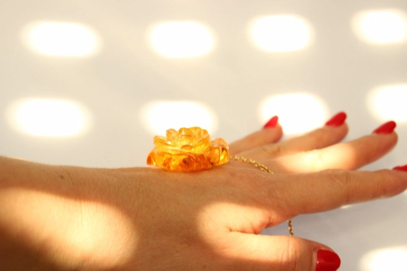 Amazing carved Amber rose Amber pendant with chain