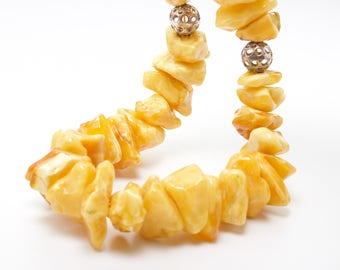 White Pure Amber Necklace, Pure Beauty !