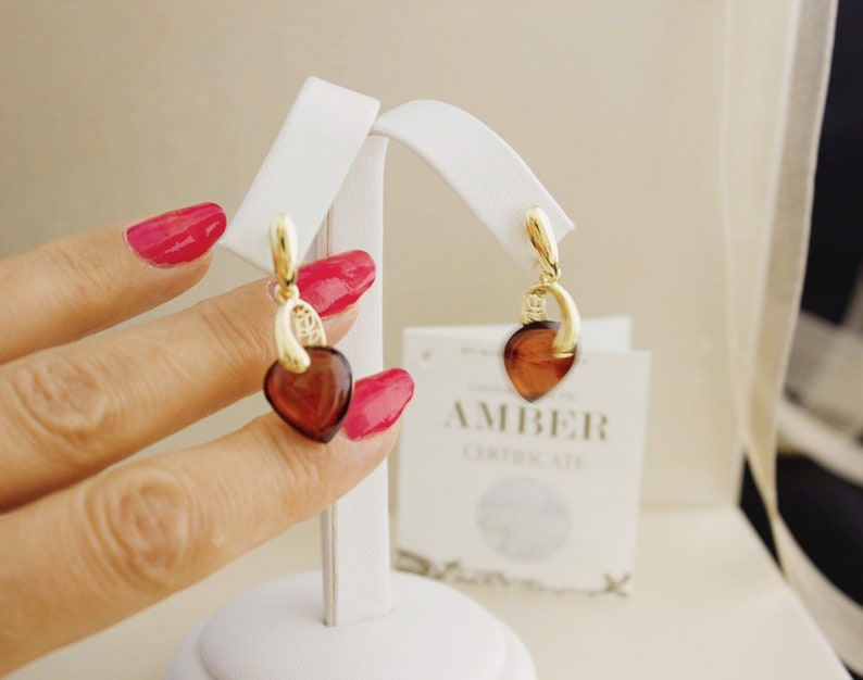 Cherry amber set Amber pendant with chain and amber earrings Gold set with Amber heart