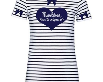 Personalized sailor T-Shirt Navy and white heart personalized bachelorette party