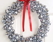 Jingle Bell Wreath in Silver with Bow | Christmas Wreath with Real Jingle Bells | Winter Wreath | Holiday Wreath | Christmas Decoration