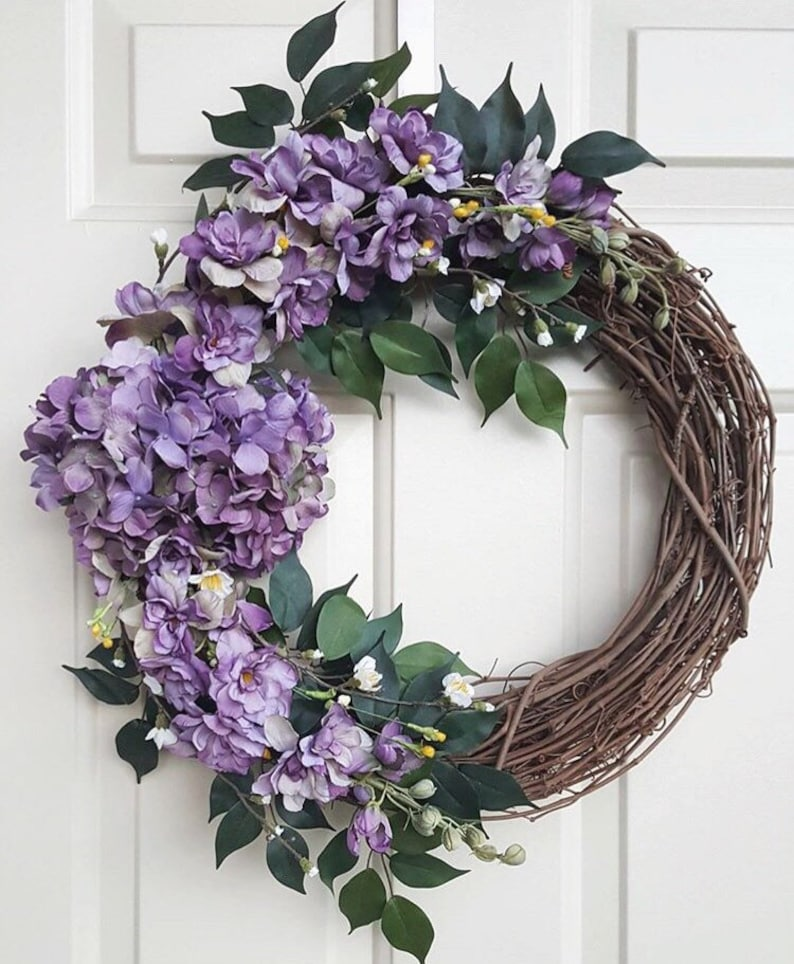 Purple Hydrangea Wreath Purple Floral Front Door Wreath Etsy