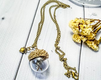 Acorn Glass necklace Dandeion Nature jewelry Oak necklace Unusual jewelry Eco friendly Wish necklace Botanical jewelry Wildflower Ball Oak