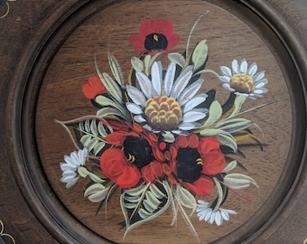 Hand painted floral wooden wall plate