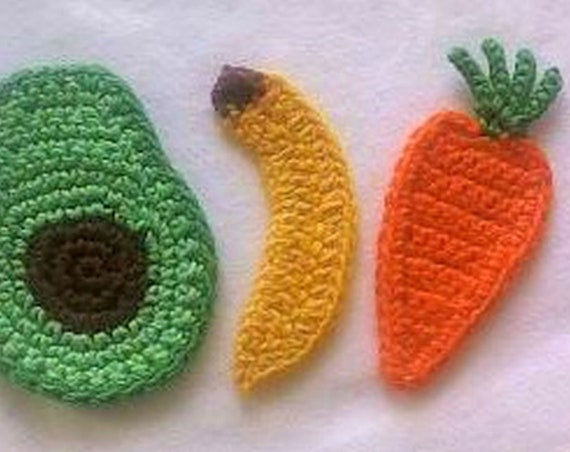 3 Pieces Crochet You Carrot Appliqués Avocado Bananas Sew on Applications for Baby, fruit crochet working applications, make Map