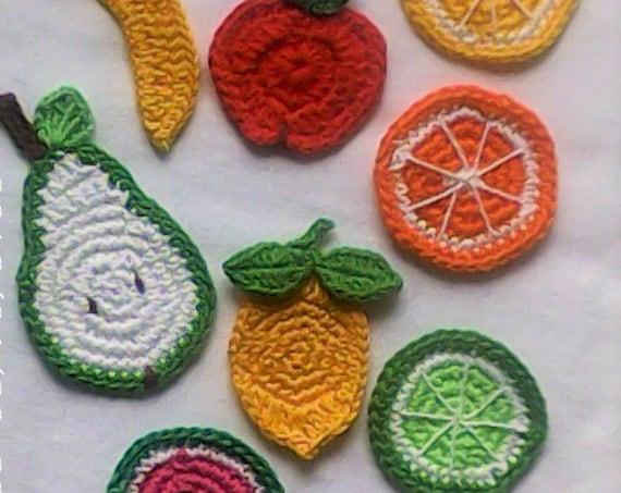 Fruit Plate, 9-piece, crochet appliqués Bananas red apple lemon Apple pear pear Kiwi lime Watermelon