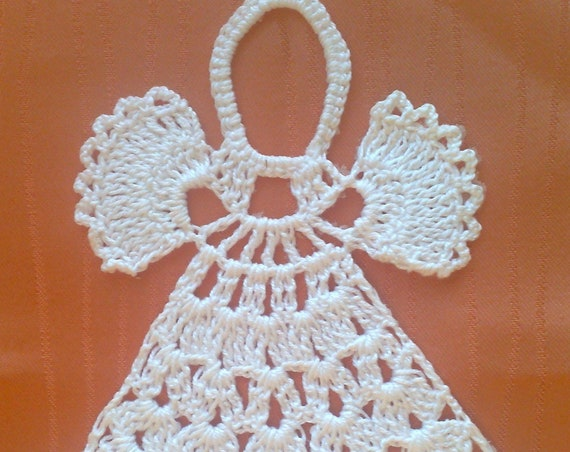 Christmas tree decoration white, crochet angel Christmas ornament gift lace angel