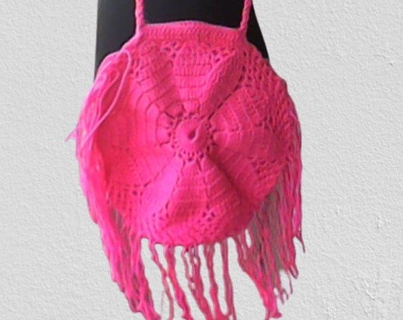 Kids bag boho hippie round eco crossbody bag, boho hippie hand crocheted market shoulder bag, beach chic crochet food carry tote tote