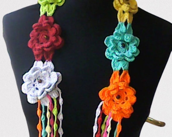 Crochet necklace with colorful floral accessoare fashion scarf unique gift handmade