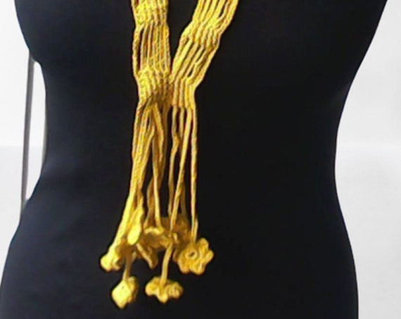 Lariat scarf, crochet yellow lariat scarf, narrow cotton scarf, crochet lariat jewelry length 21""