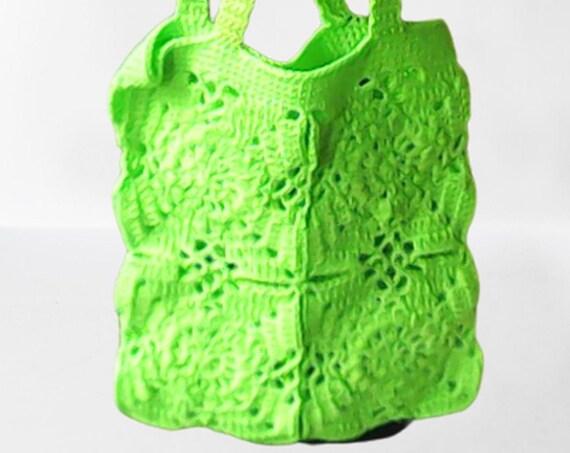 Neon green crochet bag, shoulder bag, cute bag with long handles, green bag, shoulder bag