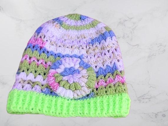 Crochet Slouchy Hat Multlicolor Knitting Cap Neon Striped Slouchy Hat Taupe Beret striped Slouch Tam neon crochet Hat