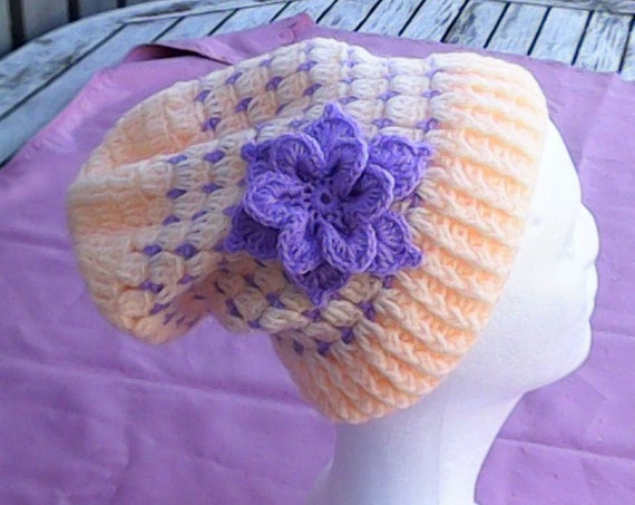 Apricot Slouch Hat with Purple Flower apricot Cap with Flower Crochet Slouch Hat Off Crochet Cap Winter Cap with Flower Purple Crochet Teeny Hat