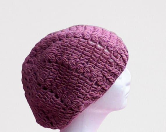 Old Pink Slouch Hat Pink Slouch Hat Crochet Women Hat Pink Crochet Tam Burgundy Knit Cap Old Pink Tam Slouchy Pink Beret Burgundy Tam