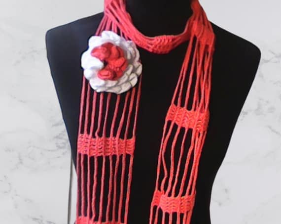 Crochet lasso scarf apricot with white fringe and large crochet flower with pearl