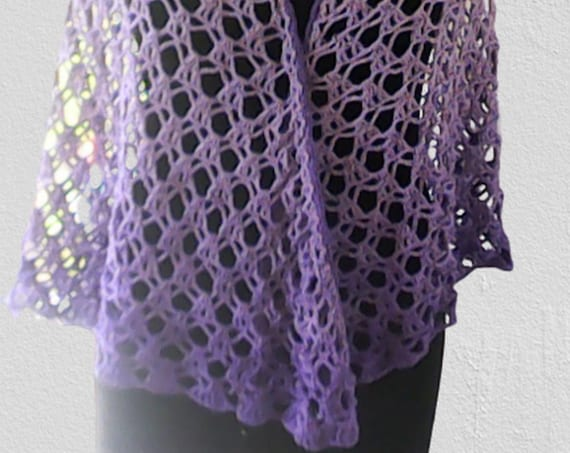 Summer Scarf Triangle Purple Color Festival Lace Bridal Wedding Wrap Bikini Cover Scarf Boho Summer Wrap