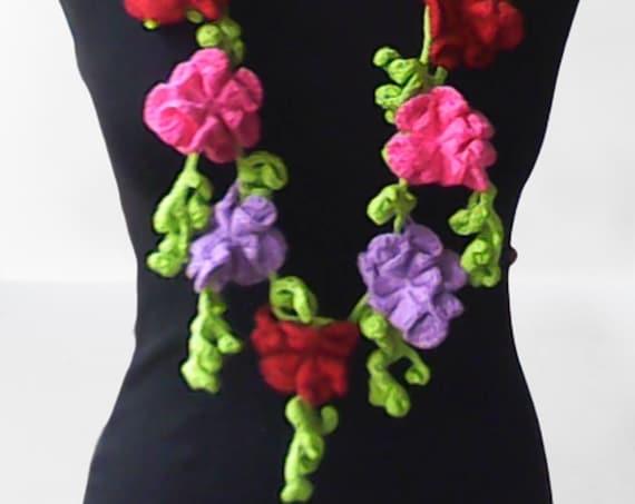 Crochet lasso floral chain neon necklace, neon crochet scarf, flower necklace scarf, multicolor lariat scarf, handmade loop scarf