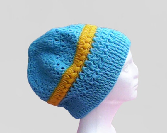 Blue Very Large Crochet Cap Slouch Beanie Teal Crochet Hat Crochet Women Hat Blue Slouchy Beret Turquoise Slouchy Hat Turquoise Knitting Slouch Hat