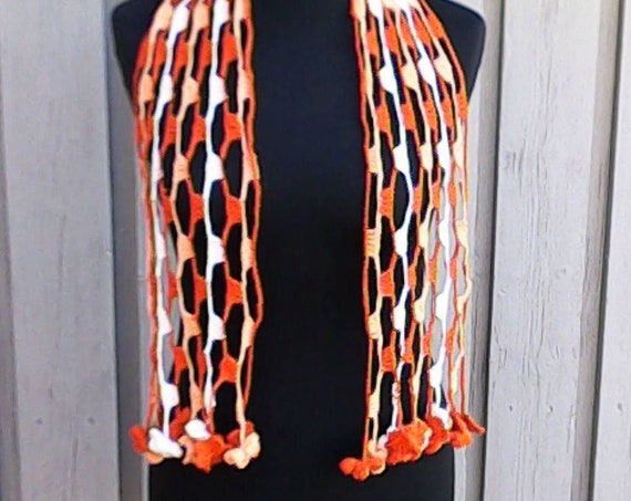 """Brown and white crochet necklace made of high quality cotton yarn, total length 53"""" , gift for women"""