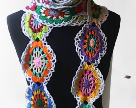 Very long scarf crocheted Granny Square, colorful crochet scarf, lasso crochet, narrow scarf